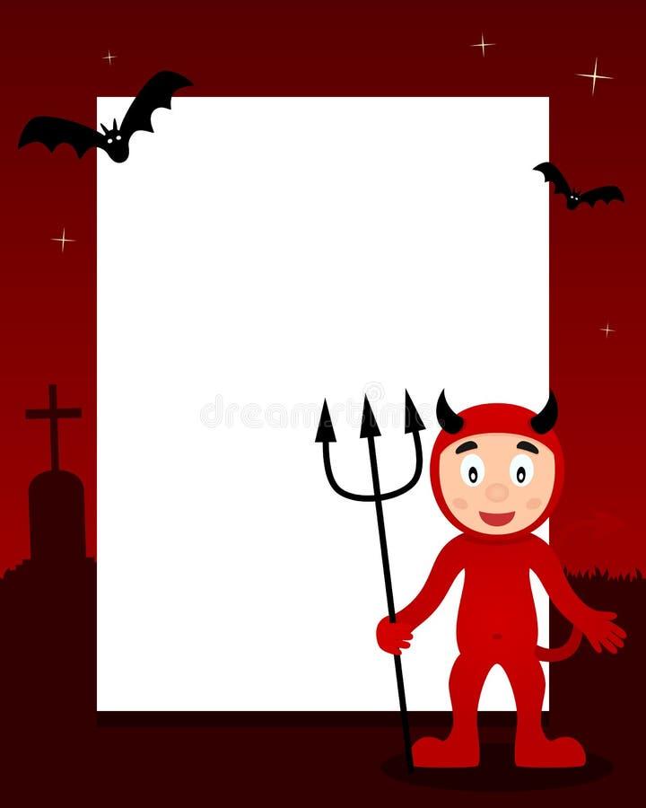 Cadre heureux de verticale de Halloween de diable rouge illustration de vecteur