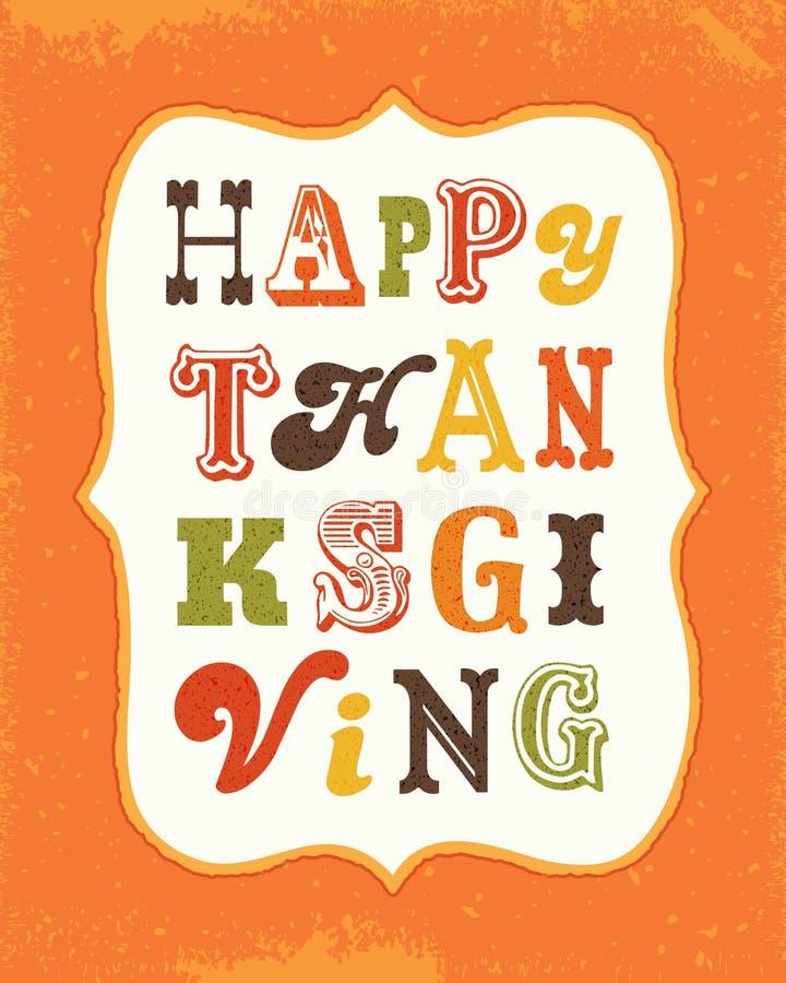 Cadre heureux des textes de vintage de carte de thanksgiving sur le portrait orange illustration stock