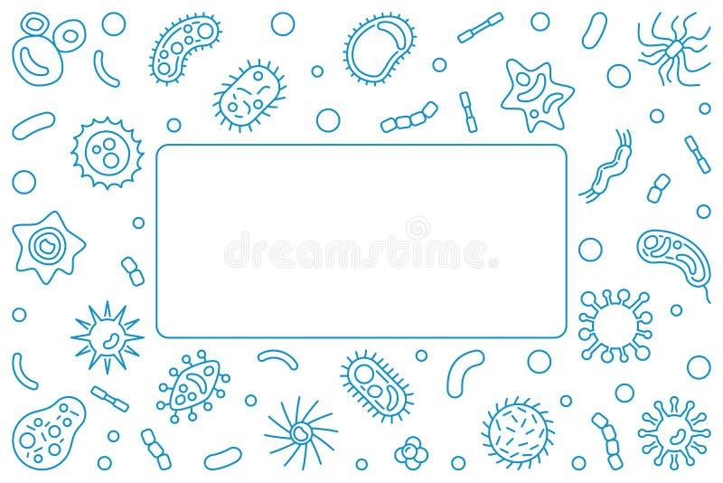 Cadre horizontal bleu d'agent pathogène Illustration d'ensemble de vecteur illustration libre de droits