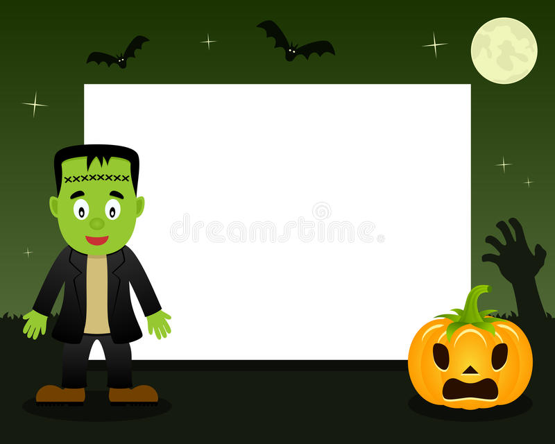 Cadre horizontal de Frankenstein Halloween illustration stock
