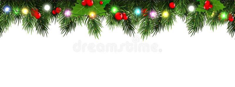 Cadre horizontal de frontière de Noël avec des branches de sapin, des cônes de pin, des baies et des lumières Illustration de vec illustration stock