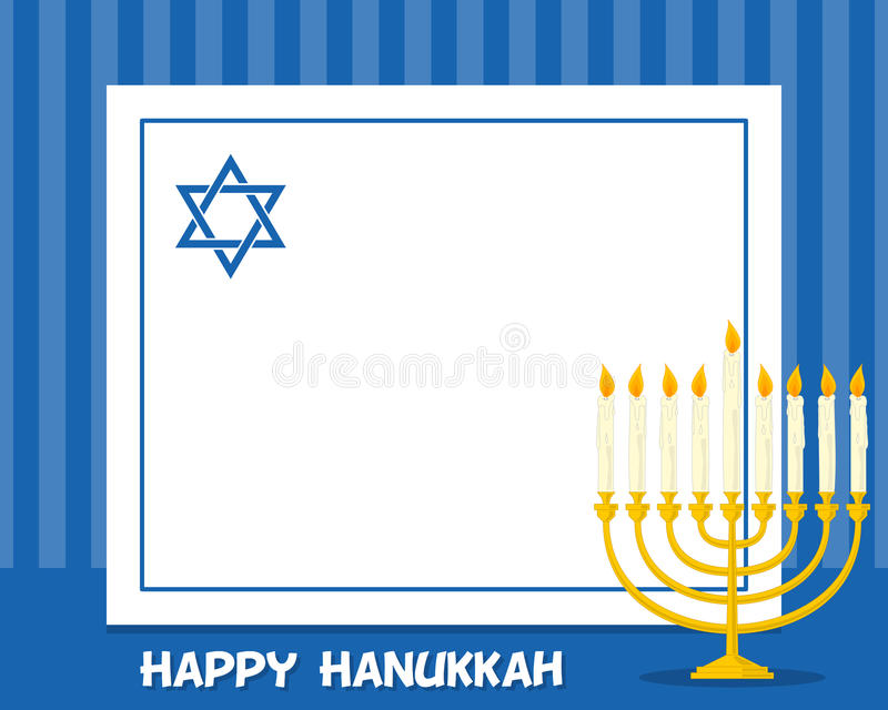 Cadre horizontal de Hanoucca Menorah illustration stock