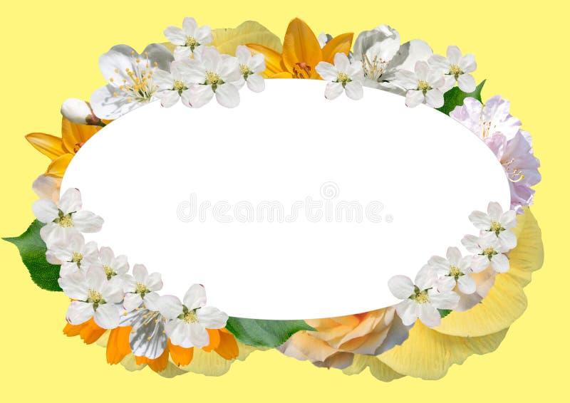 Cadre horizontal des fleurs et des feuilles avec dans en bas à gauche le faisant le coin illustration libre de droits