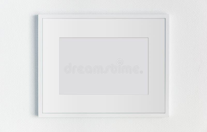 Cadre horizontal rectangulaire blanc accrochant sur un mocku blanc de mur illustration libre de droits