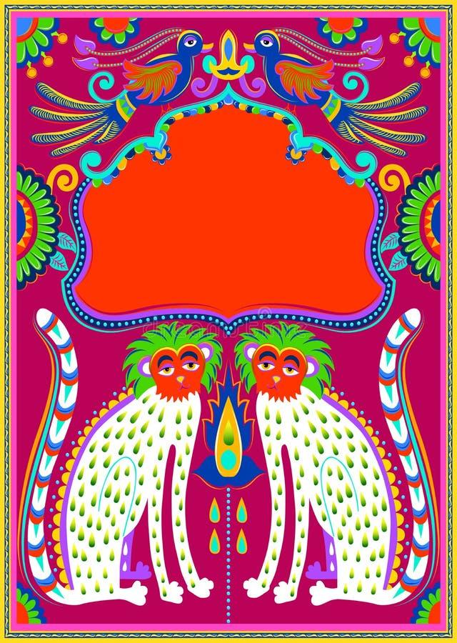 Cadre indien avec les oiseaux, le guépard et les fleurs dans le kitsch d'art de camion illustration libre de droits