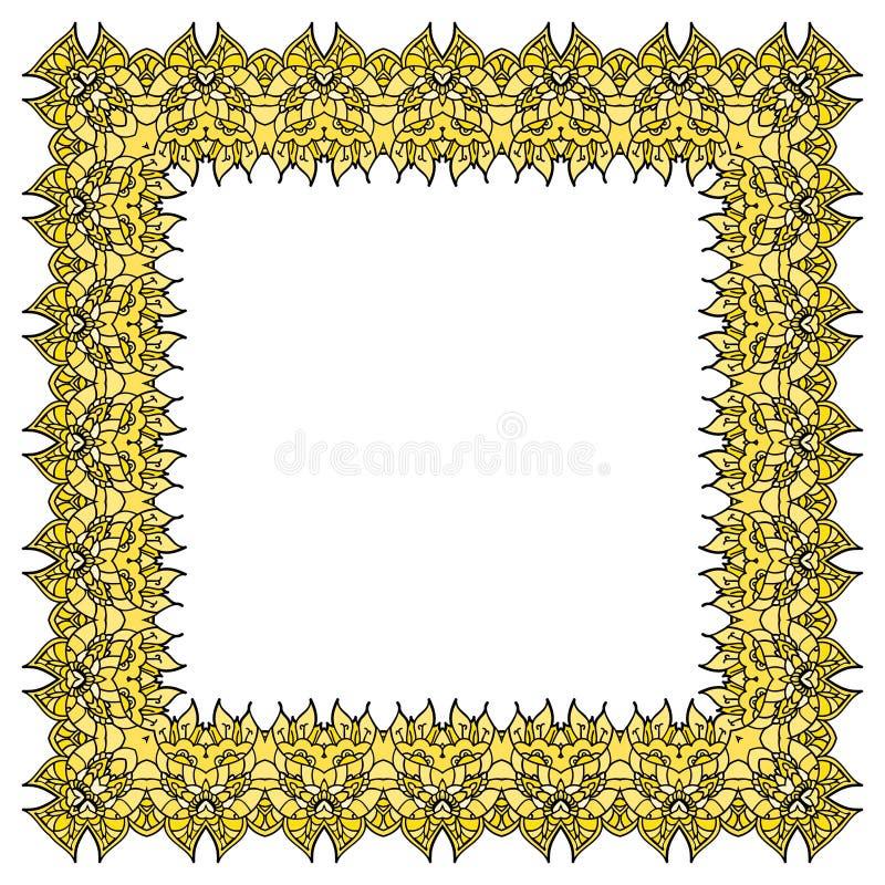 Cadre jaune de vecteur Élément carré d'isolement illustration libre de droits