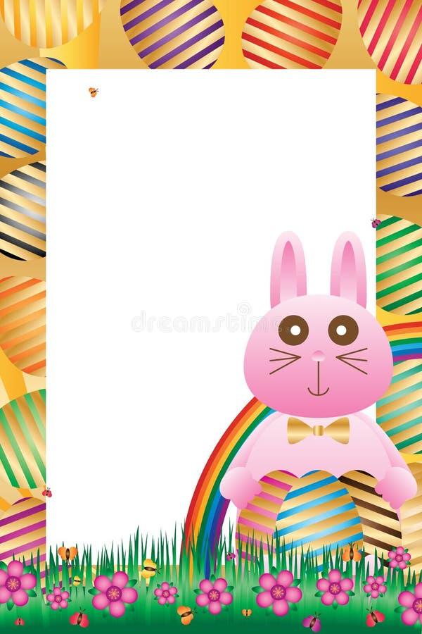 Cadre latéral d'oeuf de pâques de prise de lapin illustration stock