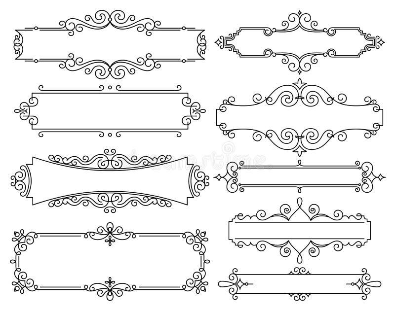 Cadre linéaire à la mode de vecteur avec l'espace de copie pour le texte - calibre de conception d'invitation de mariage - fond d illustration libre de droits