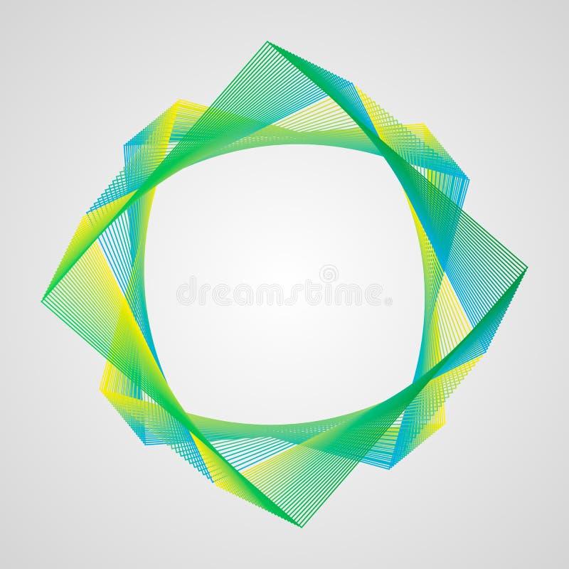 Cadre lumineux de gradient de zigzag asymétrique Élément stylisé de guilloche illustration stock