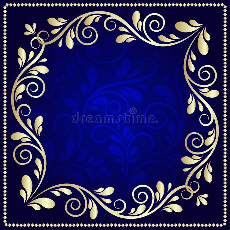 Cadre luxueux de modèle d'or sur un fond bleu-foncé illustration libre de droits