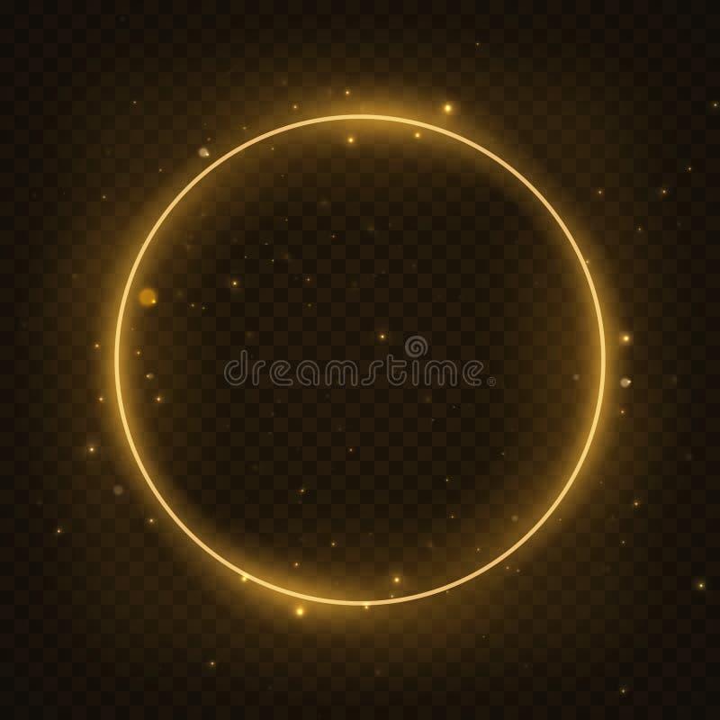 Cadre magique rougeoyant de cercle de vecteur Vague au néon rougeoyante d'anneau du feu Effet de traînée de remous d'étincelle de illustration stock