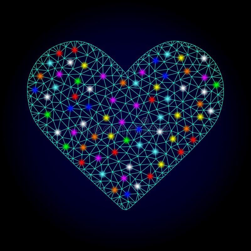 Cadre Mesh Love Heart de fil de vecteur avec les taches lumineuses pour Chistmas illustration libre de droits