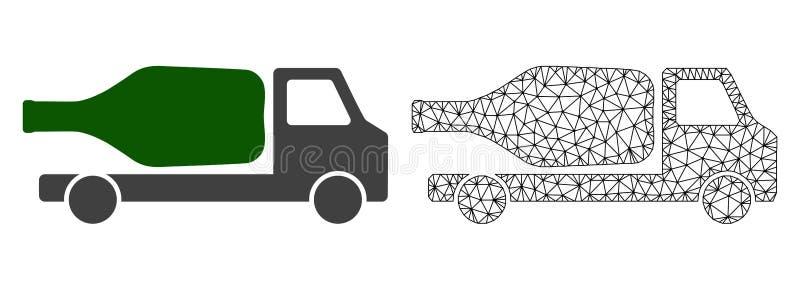 Cadre Mesh Wine Delivery de fil de vecteur et icône plate illustration de vecteur