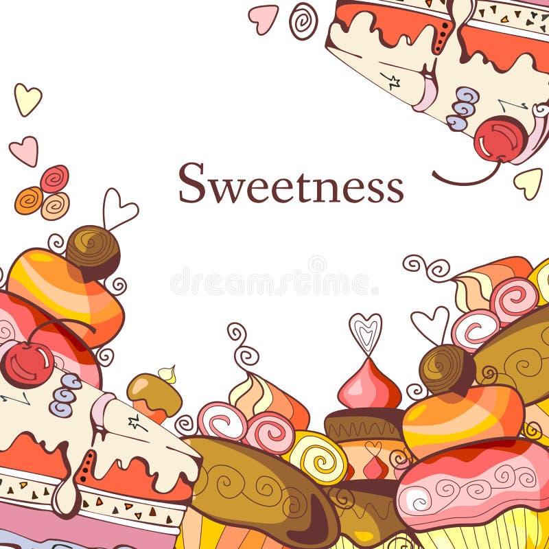 Cadre mignon avec les petits gâteaux doux illustration libre de droits