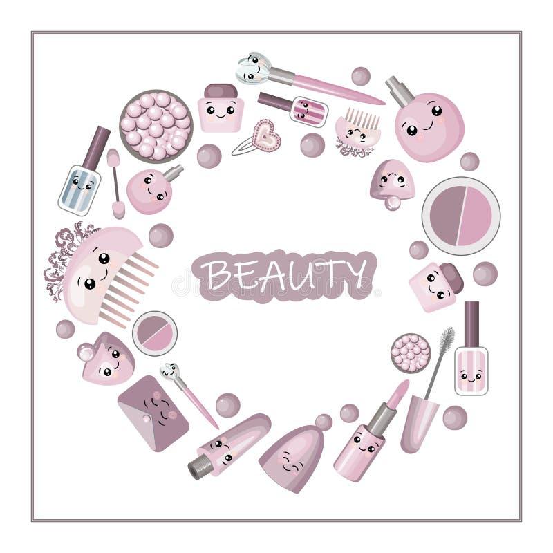 Cadre mignon de bande dessinée avec la petite fille de kawaii et les cosmétiques, choses de mode - rouge à lèvres, cristal rose,  illustration de vecteur