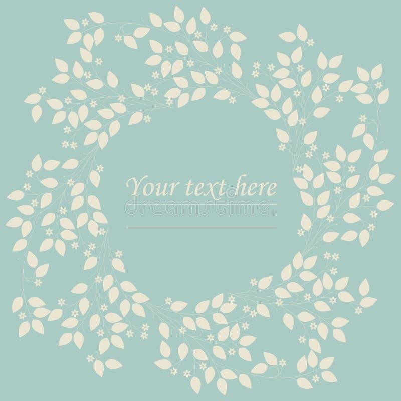 Cadre mignon de cercle avec des fleurs et des feuilles pour vos conceptions illustration de vecteur