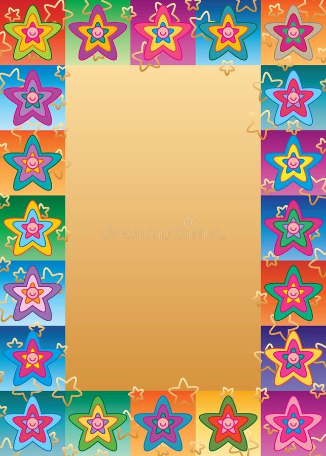 Cadre mignon de symétrie de visage de fleur d'étoile illustration de vecteur