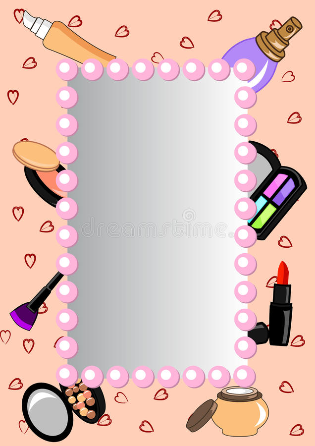 Cadre-miroir de cosmétiques illustration de vecteur