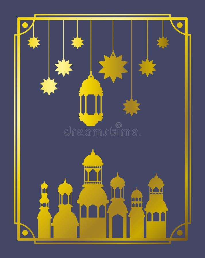 Cadre mubaray d'Eid avec la mosquée et les lampes, accrocher d'étoiles illustration stock