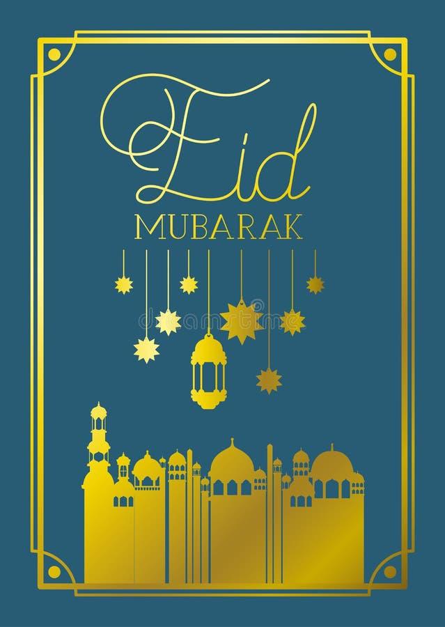 Cadre mubaray d'Eid avec la mosquée et les lampes, accrocher d'étoiles illustration de vecteur
