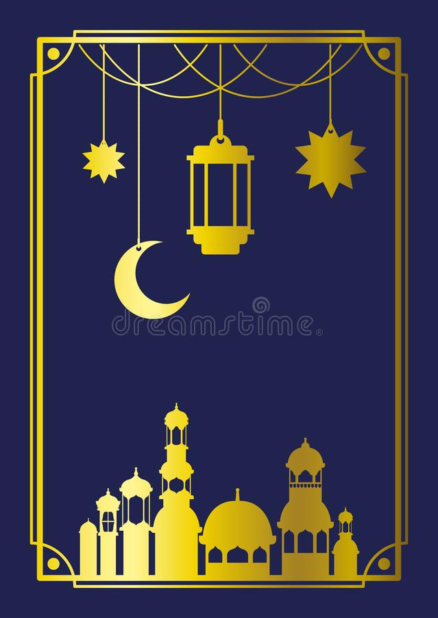 Cadre mubaray d'Eid avec la mosquée et les lampes, accrocher de lune illustration libre de droits