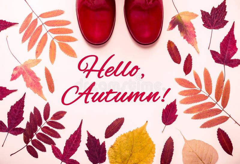 Cadre multicolore de feuilles d'automne et bottes en caoutchouc rouges Bonjour, mots d'automne photographie stock