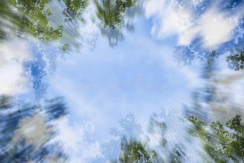 Cadre naturel, fond abstrait de ciel bleu avec les nuages blancs et feuilles vertes, ressort, été, double composition photographie stock