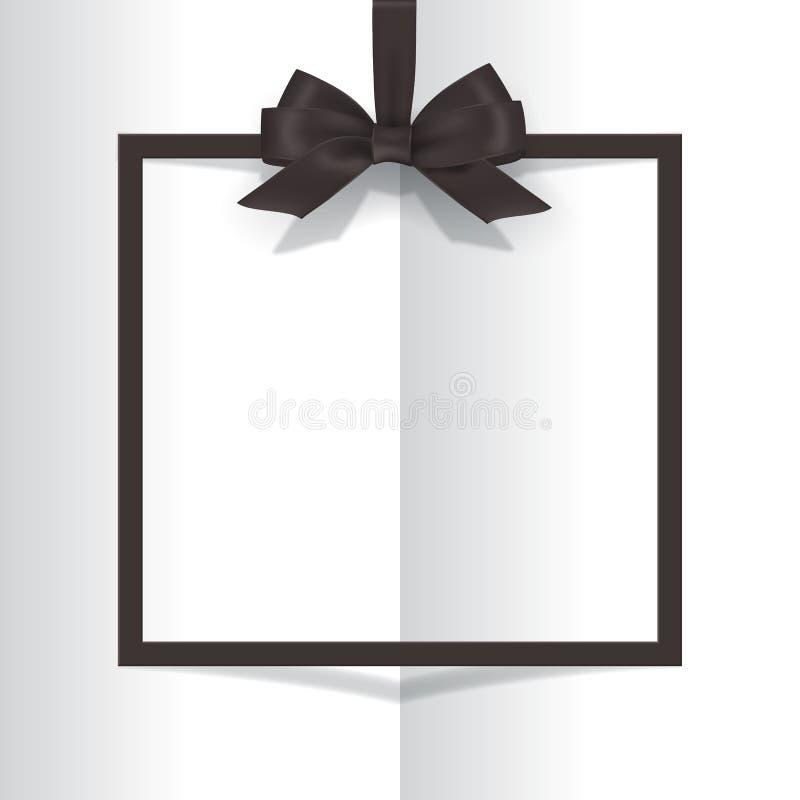 Cadre noir avec l'arc noir sur le fond de livre Carte postale de vecteur ou calibre de carte de voeux illustration stock