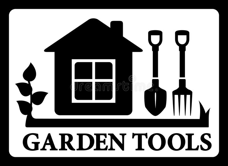 Cadre noir avec la maison et outils pour le jardinage illustration stock