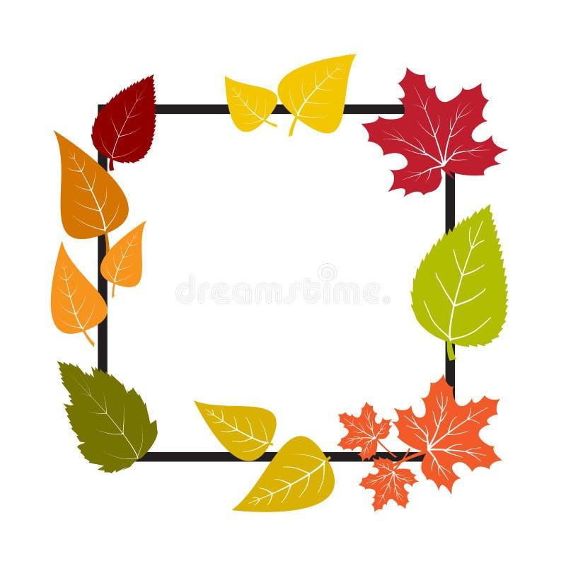 Cadre noir avec les feuilles color?es Banni?re d'automne de conception Fond blanc d'isolement Illustration de vecteur illustration libre de droits