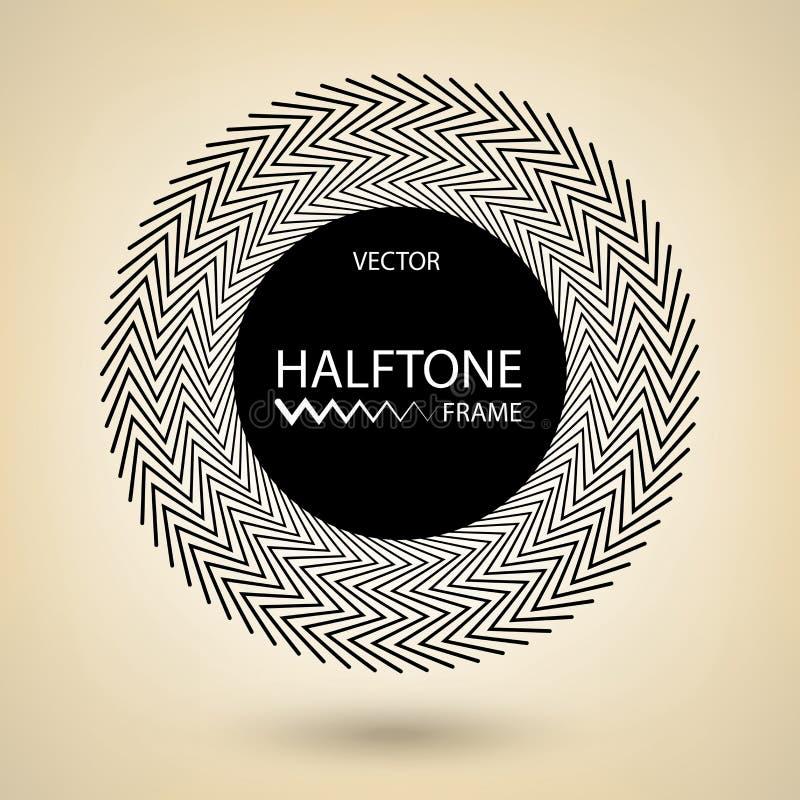 Cadre noir de cercle, conception de frontière de zigzag de vecteur, élément tramé rond de conception illustration libre de droits