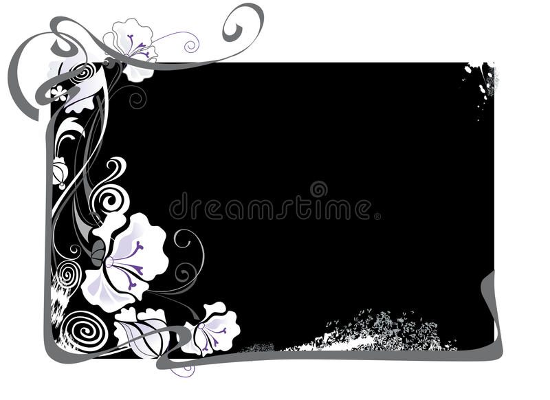 cadre noir et blanc avec des fleurs illustration de vecteur illustration du cadre d filement. Black Bedroom Furniture Sets. Home Design Ideas