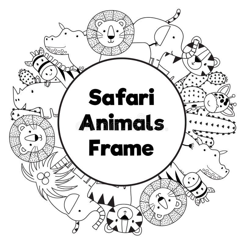 Cadre noir et blanc de cercle d'animaux de safari illustration de vecteur