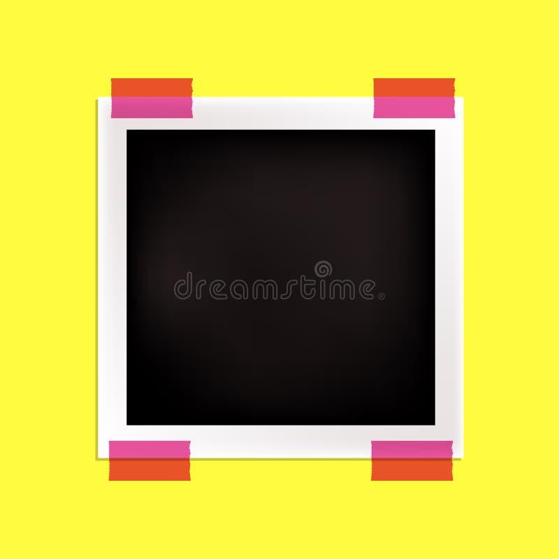 Cadre noir et blanc de photo de vecteur, calibre, jaune lumineux et ruban adhésif rose illustration stock