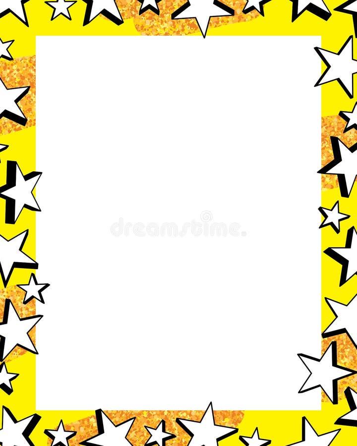 Cadre noir et blanc de scintillement de l'or 3d d'étoile illustration libre de droits