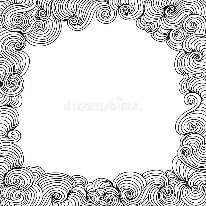 Cadre noir et blanc de vecteur décoratif avec les lignes de bordage illustration stock