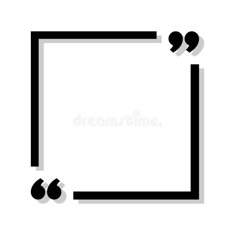 Cadre noir pour votre texte Signe de citation des textes Icône noire dans des coins de foyer Illustration de vecteur illustration libre de droits