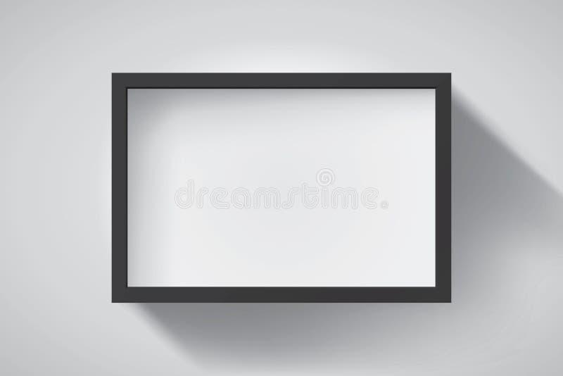 Cadre noir réaliste et vide sur fond clair, bordure de votre projet créatif, maquillage de votre projet Conception de vecteurs illustration de vecteur