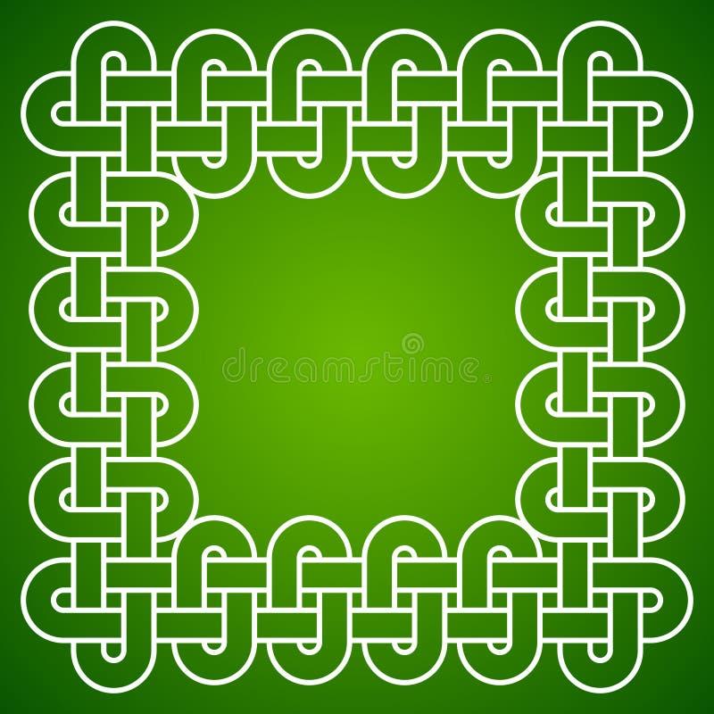 Cadre noué, blanc sur le fond vert, illustration de vecteur illustration stock