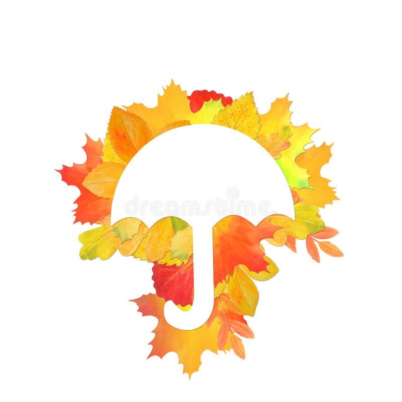 Cadre original pour la conception avec des feuilles d'automne illustration stock
