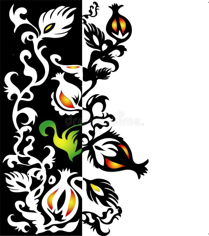 Cadre ornemental avec les éléments floraux illustration libre de droits