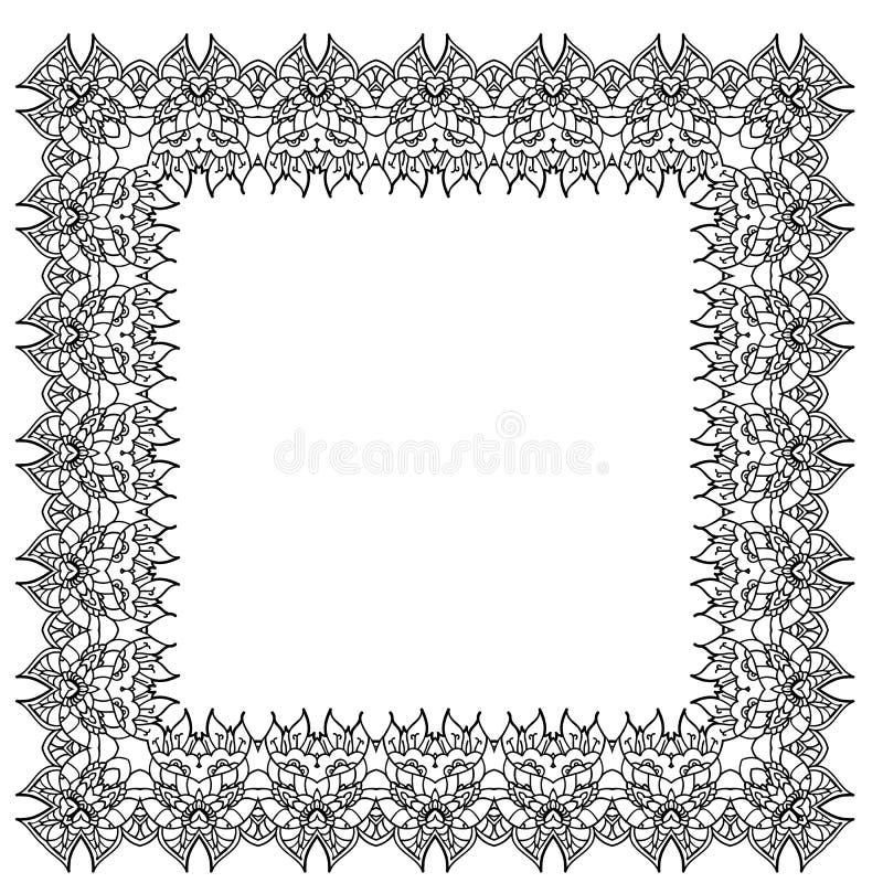 Cadre ornemental noir et blanc de vecteur Élément carré d'isolement illustration de vecteur