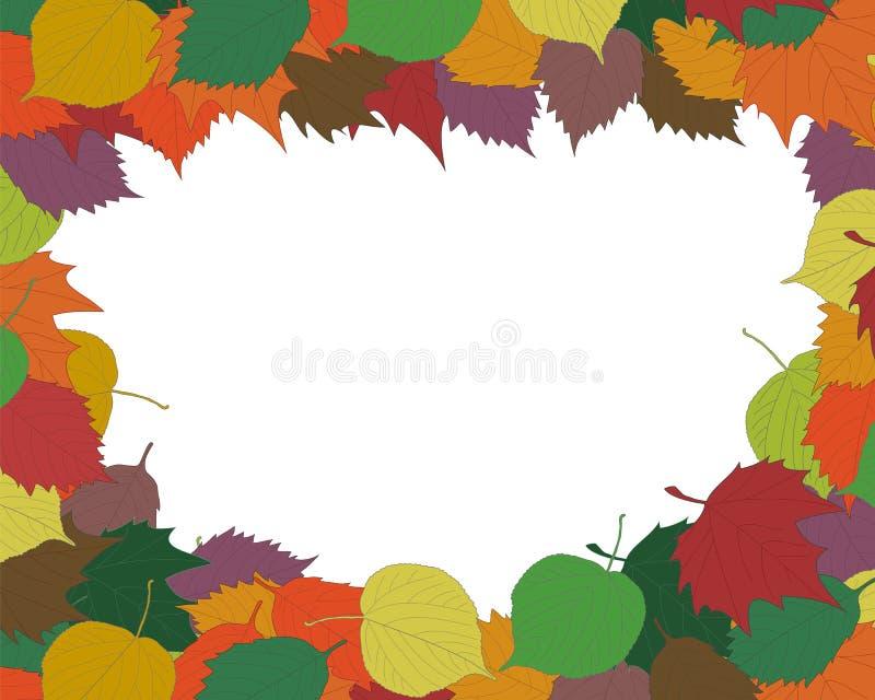 Cadre ou frontière saisonnier de fond d'automne avec le Dr. coloré de main illustration libre de droits