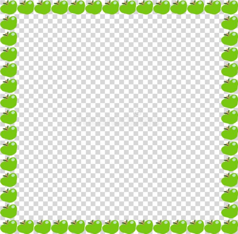 Cadre ou frontière vert de photo de place de pomme sur le fond transparent illustration stock