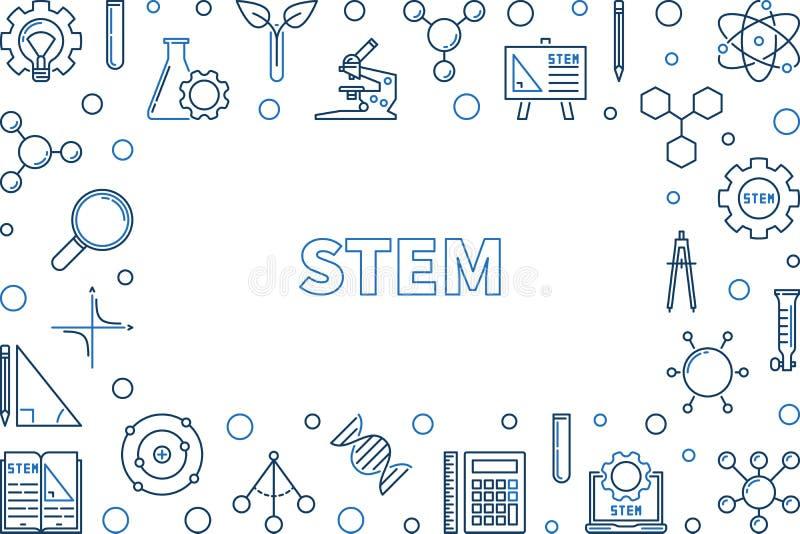 Cadre ou illustration horizontal créatif d'ensemble de vecteur de TIGE illustration de vecteur