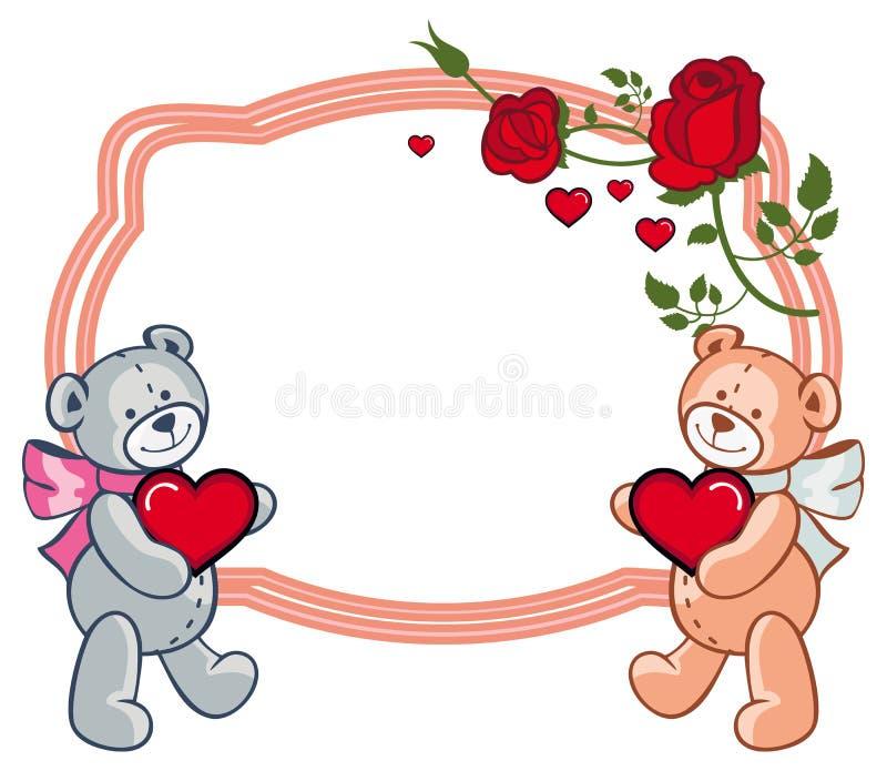 Cadre ovale avec des roses et deux ours de nounours tenant le coeur illustration stock