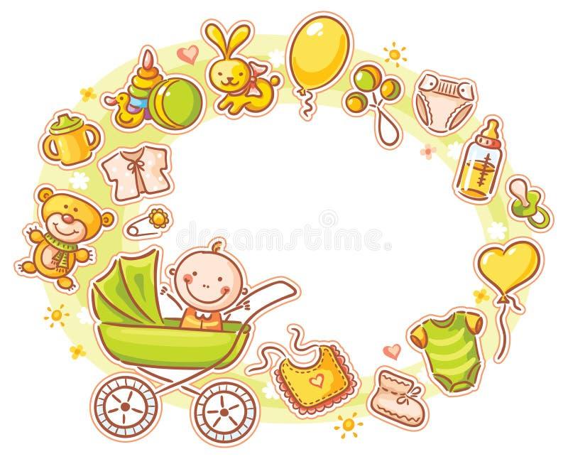 Cadre ovale avec le bébé de bande dessinée illustration de vecteur