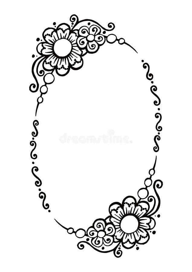 Cadre ovale décoratif de vecteur noir et blanc illustration libre de droits
