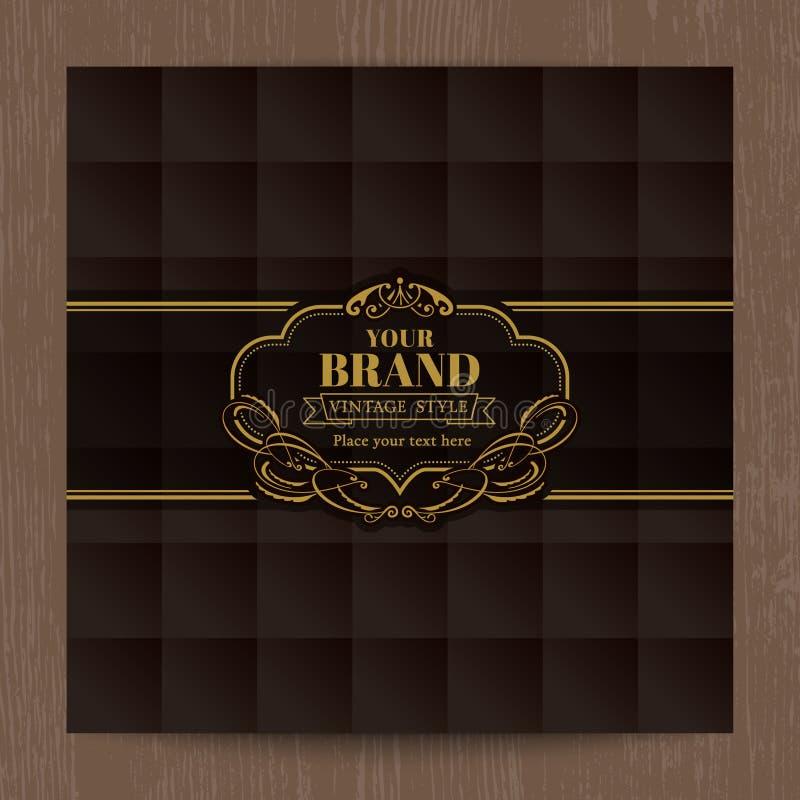 Cadre ovale de vintage d'or sur le modèle de grille carré brun illustration libre de droits
