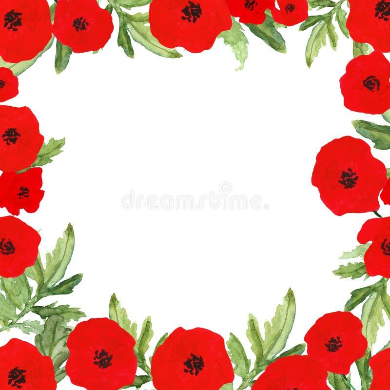 Cadre peint à la main d'aquarelle avec les fleurs rouges de pavot, 4ème de juillet, symbole de Jour de la Déclaration d'Indépenda illustration libre de droits